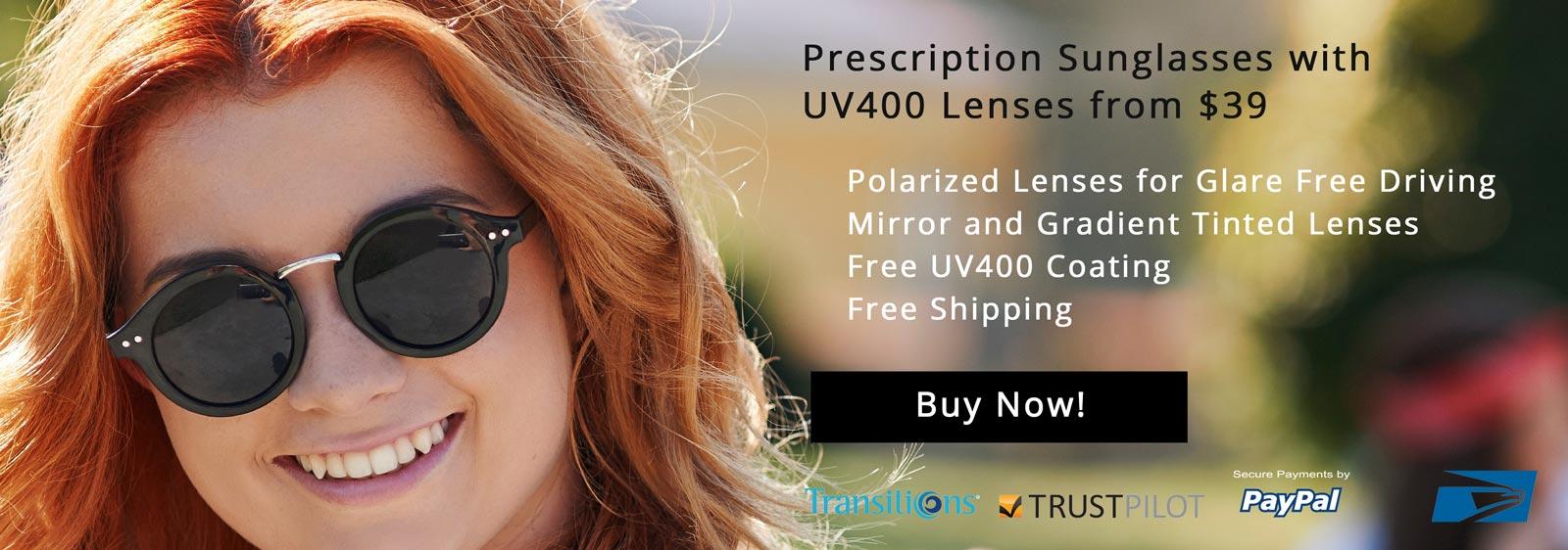 Prescription Sunglasses with UV400 Lenses from $39