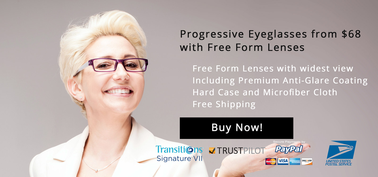 Progressive Eyeglasses from $68 with Free Form Lenses