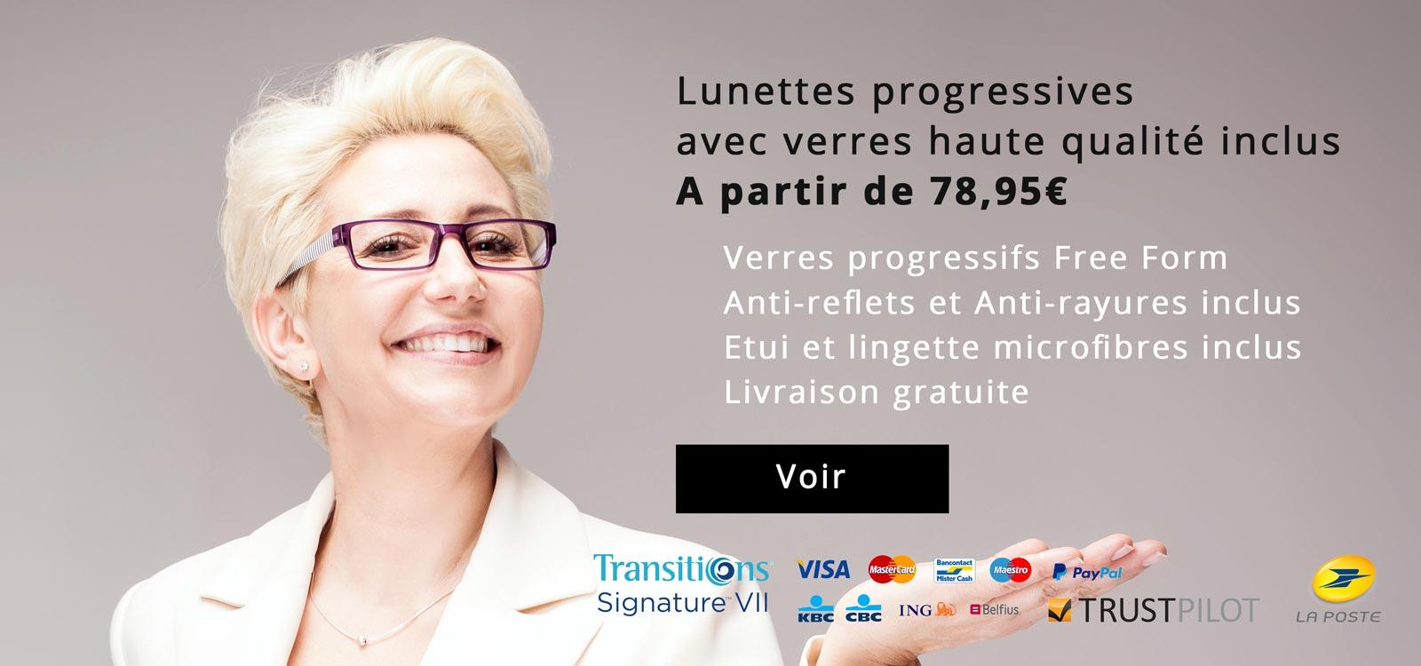 Lunettes progressives avec verres haute qualité inclus, A partir de 78,95€